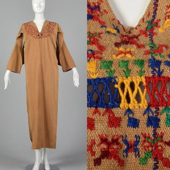 1960s Moroccan Tunic Kaftan Embroidered Caftan Boh
