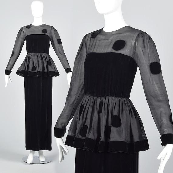86632a86abd XS Bill Blass Black Velvet Polka Dot Evening Gown Illusion