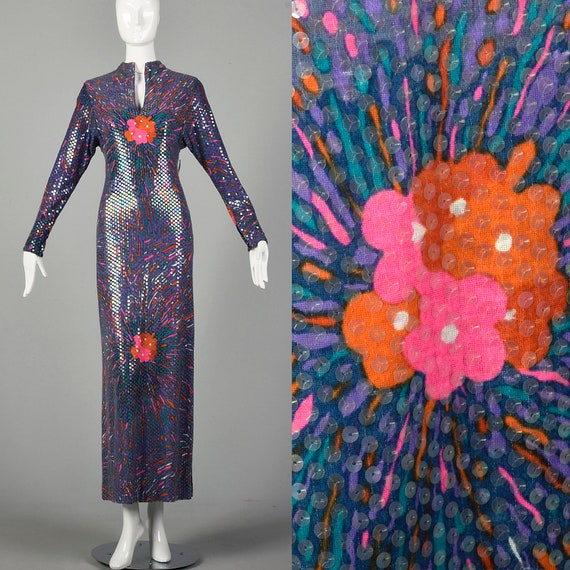 Small 1970s Malcom Starr Maxi Dress Long Sleeve Ev