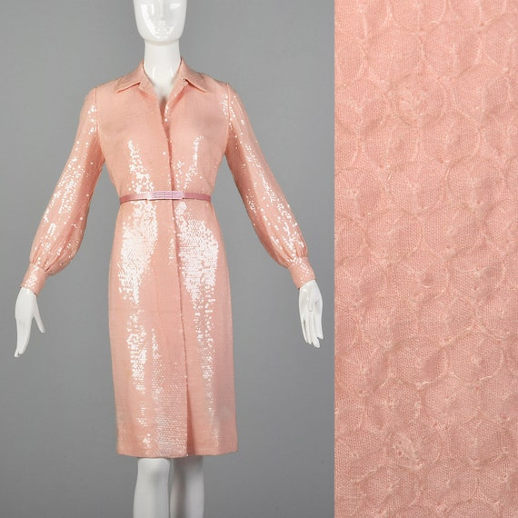 Small Bill Blass 1970s Dress Pink Sequin Dress 70s