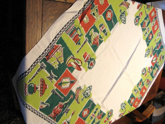 Vintage 1950s Hardy Craft Original Tablecloth In Nostalgic