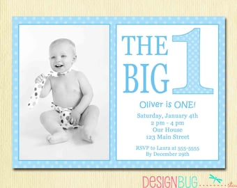 The Big One First Birthday Baby Boy Invitation