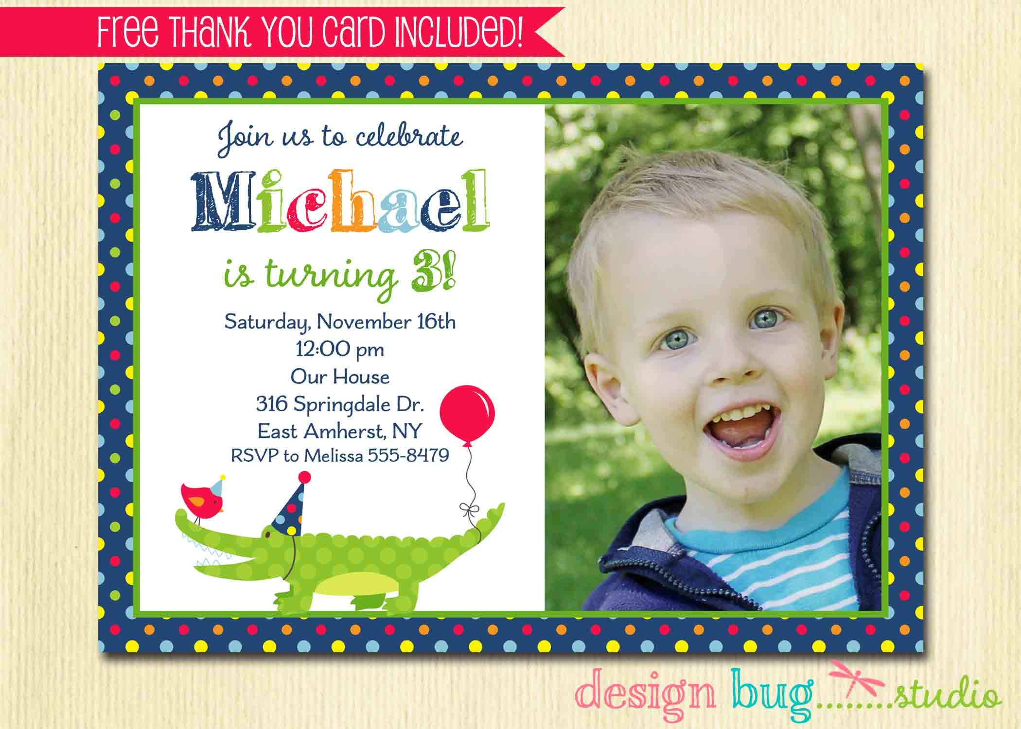 Alligator Birthday Invitation Boys Polka Dot Invite Swamp | Etsy