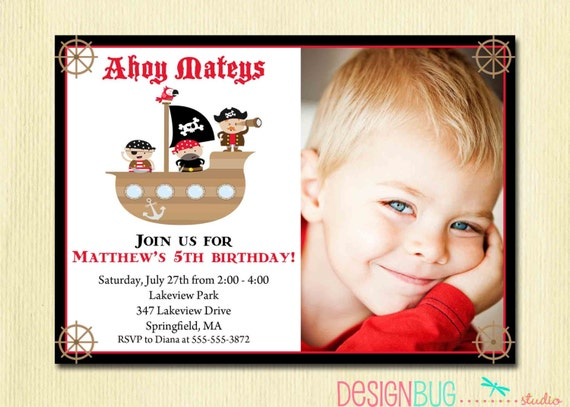 Boys Pirate Birthday Invitation Ship Ahoy Mateys