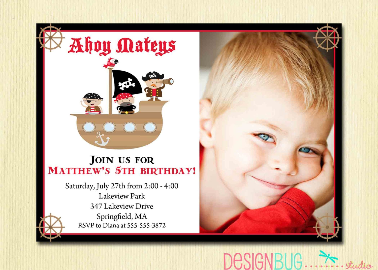 Boy\'s Pirate Birthday Invitation Pirate Ship Ahoy Mateys | Etsy