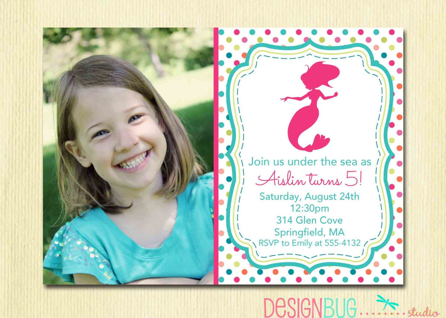 Mermaid Birthday Invitation 1 2 3 4 5 Year Old Any Age Etsy