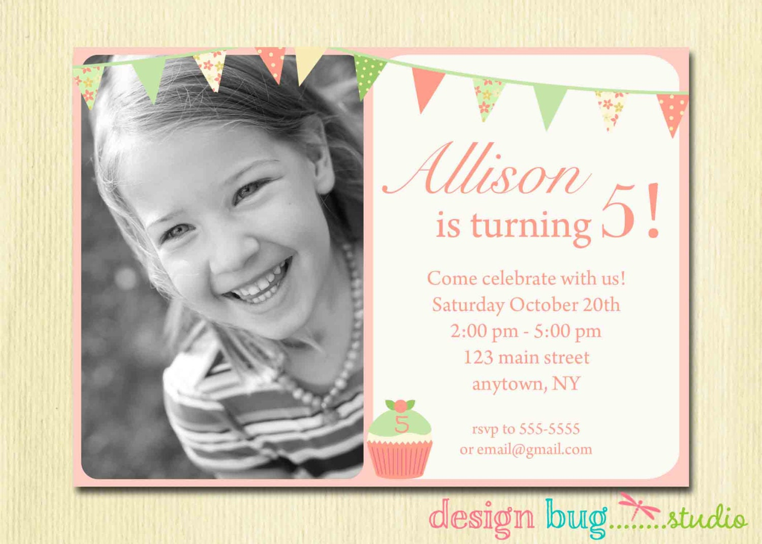 Girls Birthday Invitation Bunting cupcake DIY Photo | Etsy
