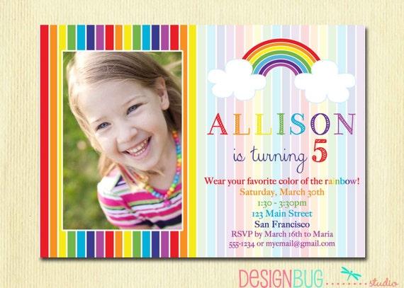 Rainbow Birthday Invitation Girls Party Photo
