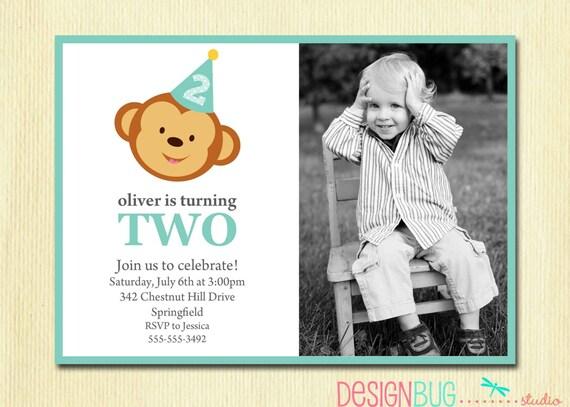 Boys Birthday Monkey Invitation Baby Boy First