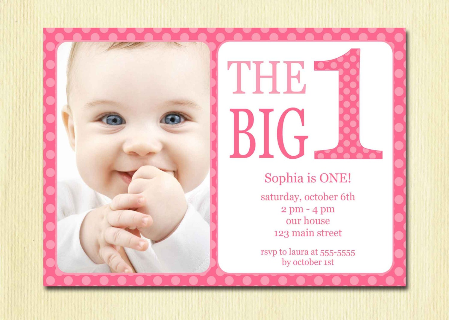 First Birthday Baby Girl Invitation DIY Photo Printable | Etsy