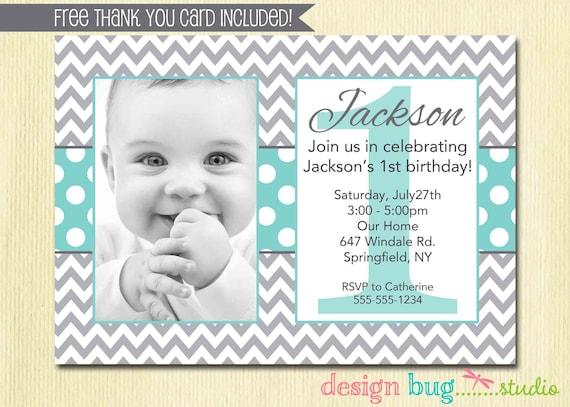 Boys Chevrons And Polka Dots Birthday Invitation Gray