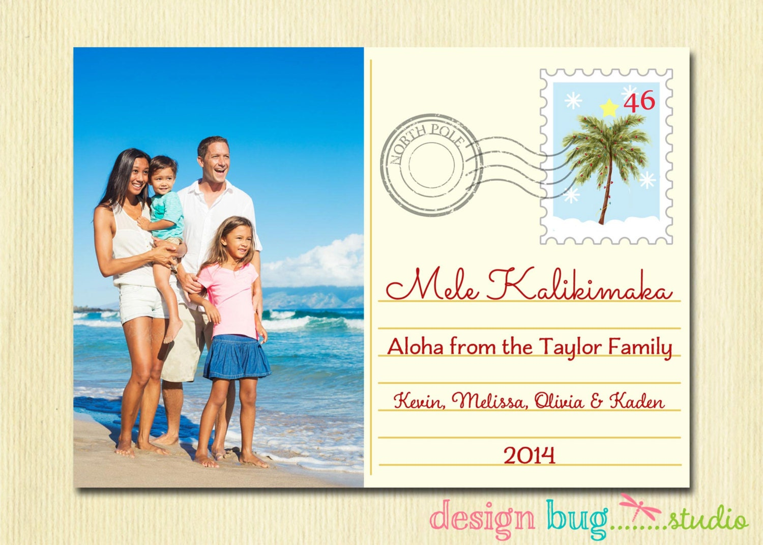 Hawaiian Christmas Card - Mele Kalikimaka - Family Holiday Photo Card - Hawaii Christmas Vacation Postcard - 1, 2 or 3 Pictures