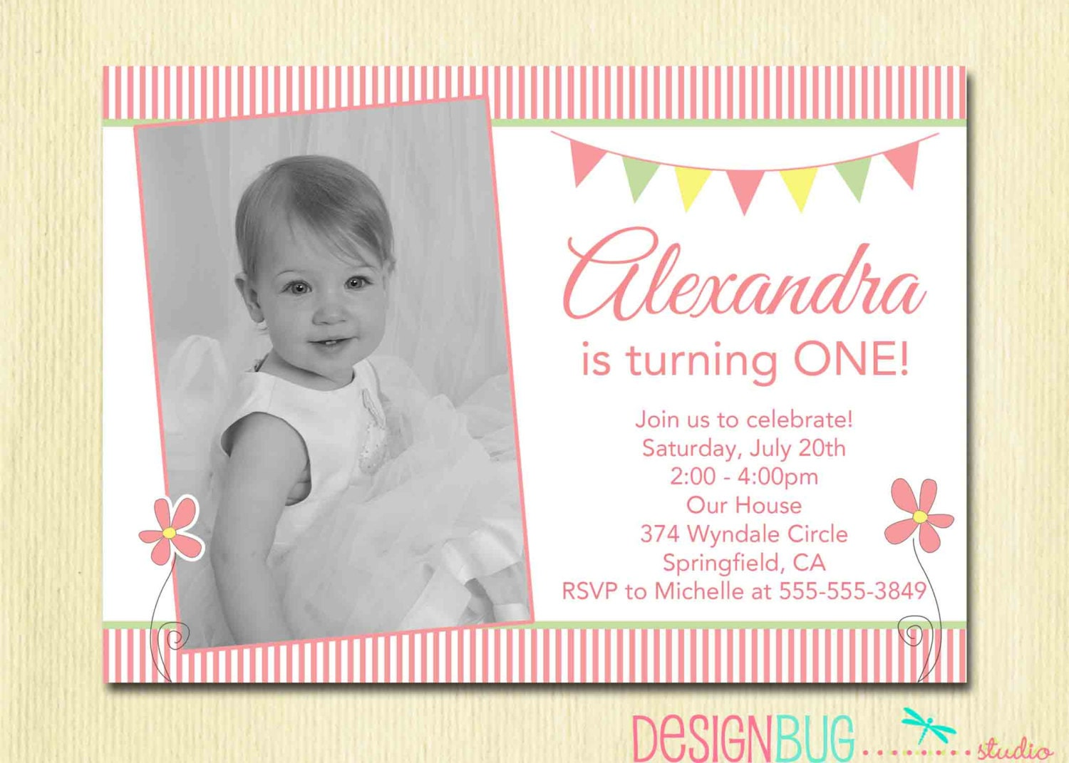 Girls Flower Birthday Invitation Spring Pastel Stripes Photo | Etsy