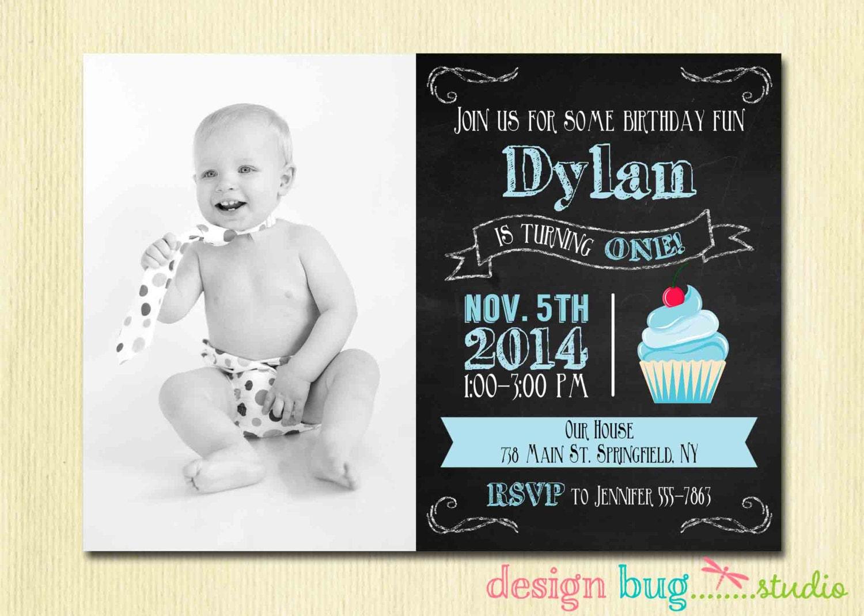 Chalkboard Cupcake Invitation 1 2 3 4 year old 1st | Etsy