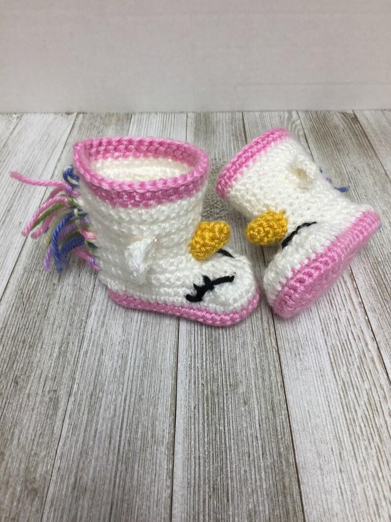 12570ba34 Crochet Unicorn Booties, 0-3 Months, Baby Boots, Crochet Booties