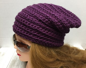 Crochet Slouchy Hat, Slouch Hat, Winter Hat, Ribbed Hat, Chunky