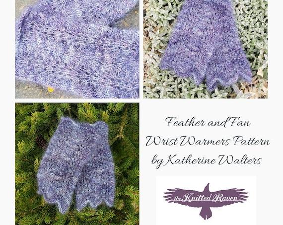 Feather and Fan Wrist Warmer Pattern