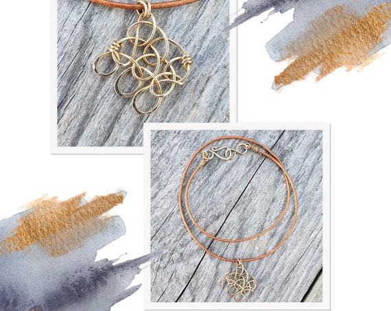 Garter Stitch Bronze Pendant