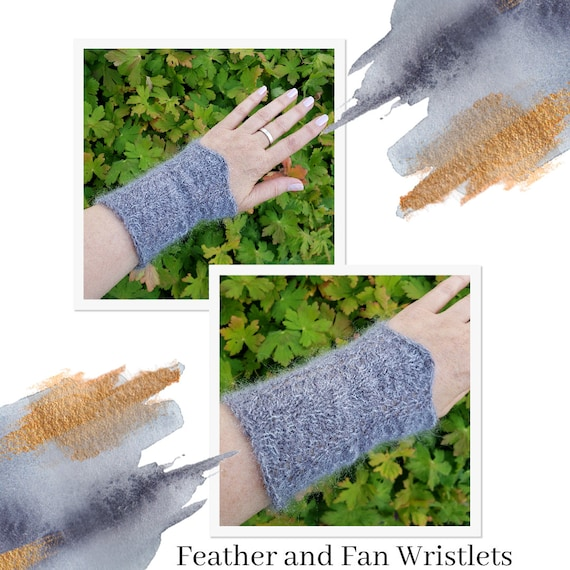 Feather and Fan Wrist Warmers - 20% off!