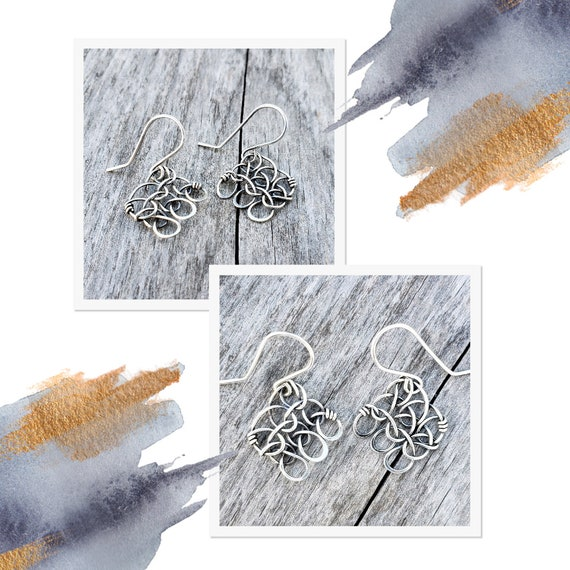 Stitch in Nine Shadow Earrings - Shepherd Hook