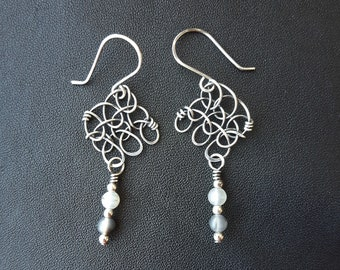 Stitch in Nine Shadow Earrings (with Montana Agate)