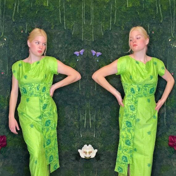 1960s Lime Green Hawaiian Gown