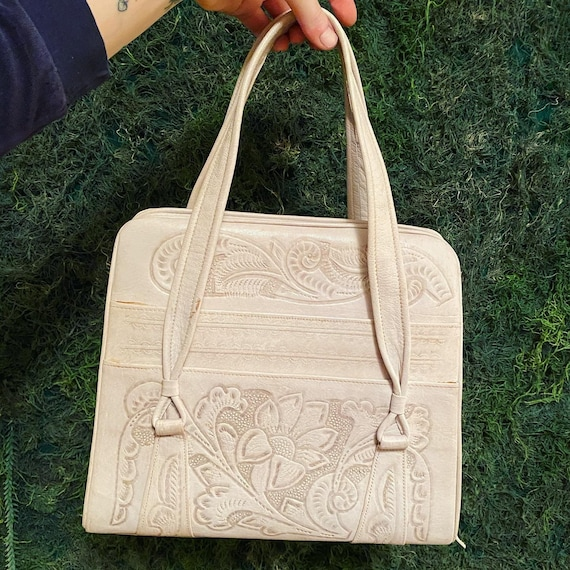 1970s Cream Tooled Leather Handbag
