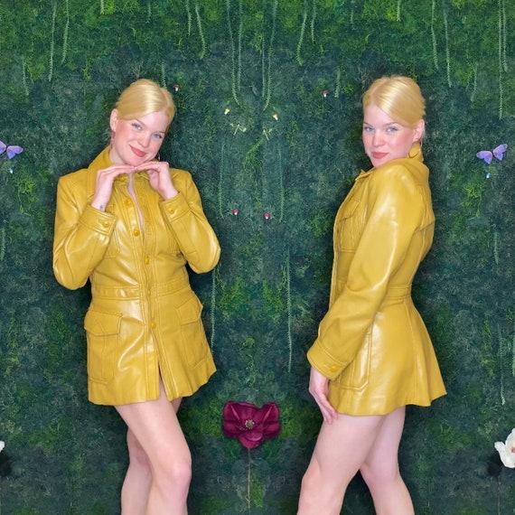 1970s Funky Mustard Yellow Vinyl Coat