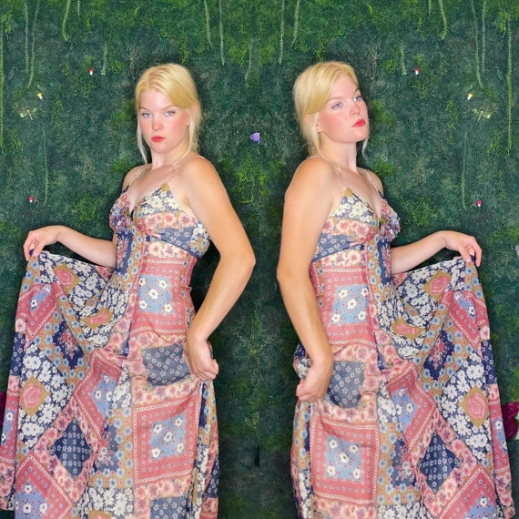 1970s Patchwork Floral Gown