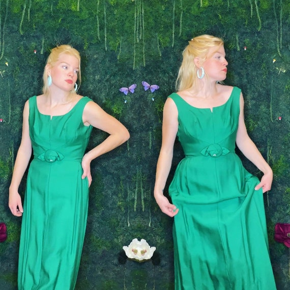 1960s Kelly Green Evening Gown