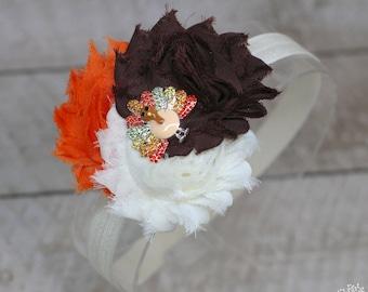 Rhinestone Turkey Headband - Thanksgiving Headband - Turkey Headband - Fall Headband - Adult Headband - Baby Headband
