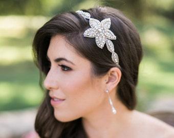 Bridal Beaded Headband - Bridal Flower Headpiece - Hard Headband - Wedding Head band - Bridesmaid - Adult Headband  - Wedding Head piece