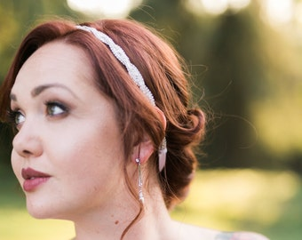 Wedding Hair Accessories - Woven Wedding Headband - Bridal Headband - Photo Prop - Bridesmaid Headband - Wedding Headpiece