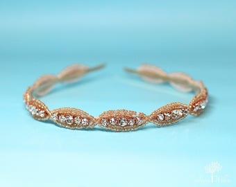 Rose Gold Beaded Bridal Hard Headband - Wedding - Bridal Headpiece - Bridesmaid - Adult Headband - Bridal Headband - Wedding Headpiece