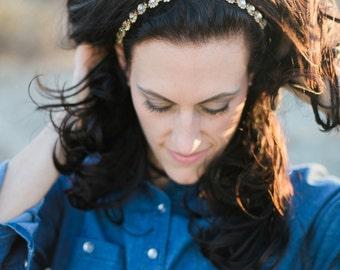Gold Wedding Headband - Bridal Headband - Gold Bridal Headpiece - Tie-back Headband -Prom Headband - Bridesmaid Headband - Wedding Accessory