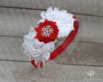 Christmas Snowflake Headband - Red and White Christmas Headband - Perfect for Newborns to Adults - Made to Match
