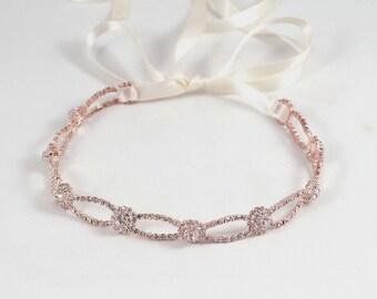 Rose Gold Wedding Headband -Bridal Headband -Prom -Rose Gold Headpiece -Wedding Accessory - Halo -Bridal Headpiece -Wedding Headpiece