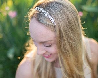 Vintage Bridal Hair Accessories - Wedding Headband - Tie-back Headband - Prom - Wedding Accessory - Wedding Headpiece - Bridesmaid