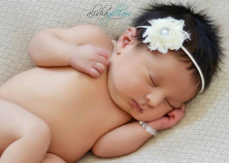 Infant Photo Prop Photo Prop Ivory Pearl Headband Flower Girl -Ivory Headband Ivory Petite Flower Skinny Headband Newborn Headband