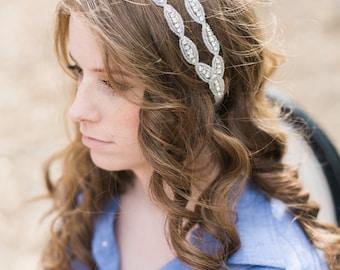 Beaded Double Headband - Tie Back Headband - Wedding Headband - Bridal Hair piece - Prom Headband - Bridesmaid Headband - Flower Girl