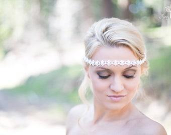 Wedding Headband with Pearls - Silver - Pearl Headband - Tie Back