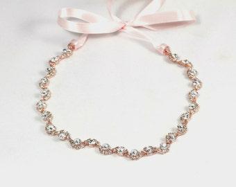 Rose Gold Crystal Headband - Flower Girl Headband - Rose Gold Headpiece - Bridesmaid Headband  -  Prom Headband - Wedding Hair Accessory