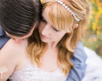 Crystal Headband Wedding - Tie back Headband - Wedding Headband - Flower Girl - Prom - Wedding Accessory - Bridesmaid - Headpiece