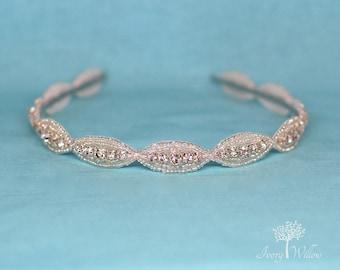 Beaded Bridal Hard Headband - Wedding Headband - Bridal Headpiece - Bridesmaid - Adult Headband - Bridal Headband - Wedding Headpiece