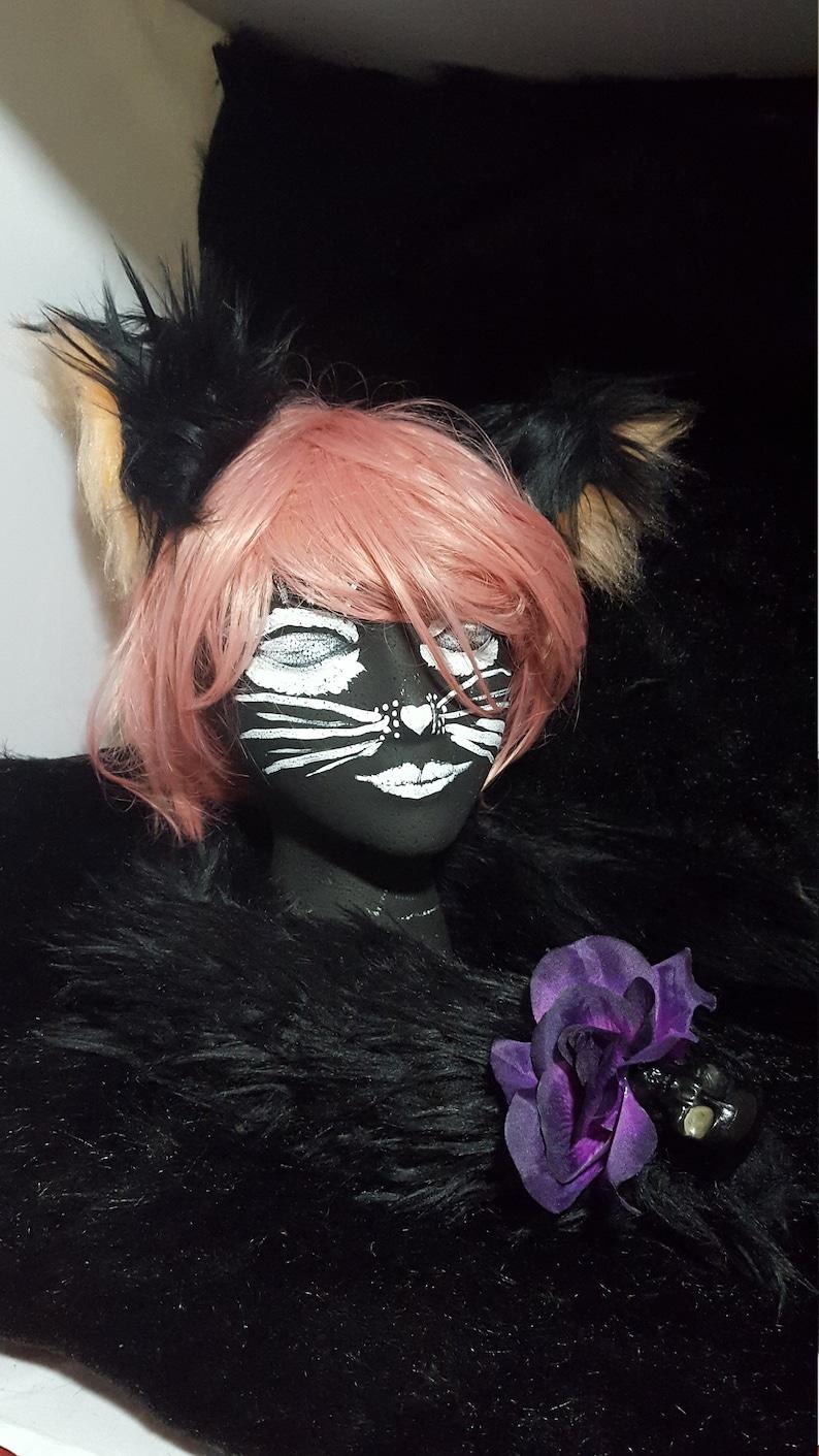 Halloween Black with Rose /& Skull Cat Tail Set kids