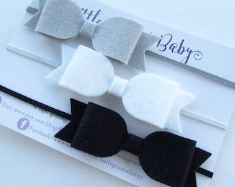 Felt Bow Set - black felt bow, gray felt bow, white felt bow - bow set