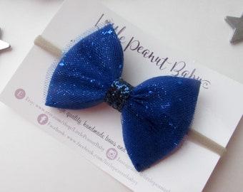 Blue Felt Bow - Blue Felt and Glitter Tulle Bow - Fourth of July Headband - Royal Blue Bow Headband