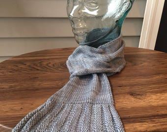 Fair trade silver blue pull-through silky knit scarf