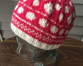 Minnie Mouse inspired red and white polka dot alpaca winter hat