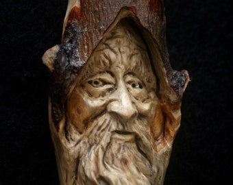 Wood Spirit Carving Wizard Elf Old man Gnome Tree Sculpture Cabin Decor Fantasy gift woodland creature Face Guardian spirit of the woods